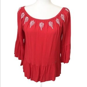 U.S. Polo Assn. Embroidered Off the Shoulder Top